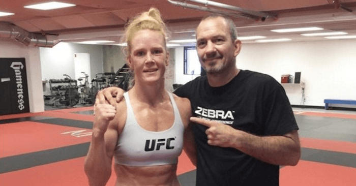 Former UFC bantamweight champion, Holly Holm and her coach Mike Winkeljohn.