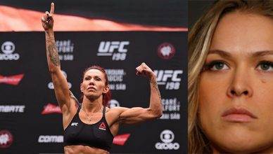 UFC featherweight champion Cris Cyborg and Ronda Rousey.