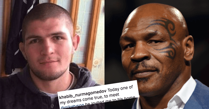 Khabib goes total fanboy when he meets mike tyson mma imports khabib goes total fanboy when he meets mike tyson m4hsunfo