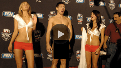 An intentional MMA wardrobe malfunction in front of this poor ring girl.