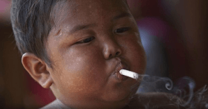 Two-year-old who smoked 40 cigarettes a day, clocks nine