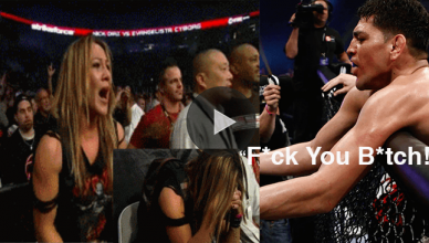 UFC welterweight star Nick Diaz cusses out featherweight champ Cris Cyborg after smashing her man and choking him out.