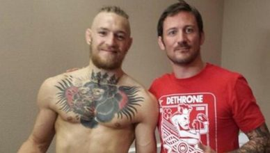Conor McGregor with his coach John Kavanagh.