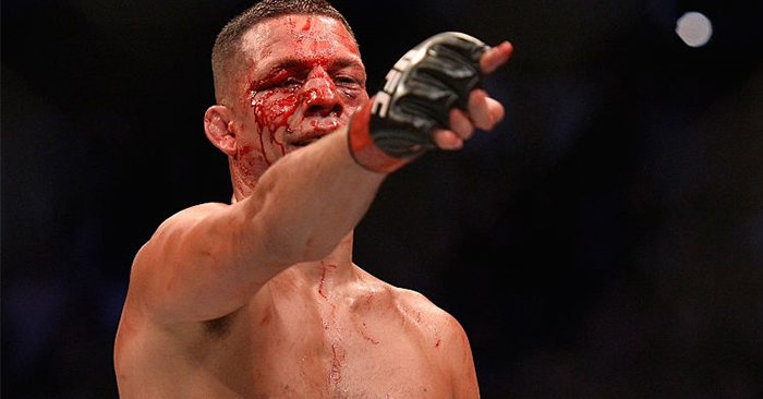 UFC's Nate Diaz covered in blood.