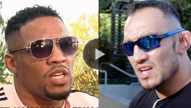 Kevin Lee and Tony Ferguson ahead of their title fight at UFC 216.