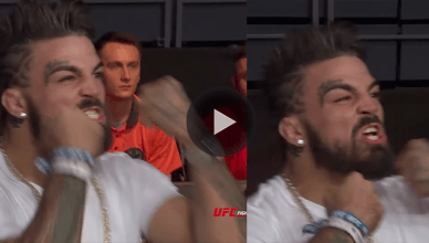 """Look at the NEW footage that shows UFC welterweight star """"Platinum"""" Mike Perry punching himself in the face after being called out by Darren Till."""
