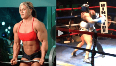An extremely jacked female bodybuilder knocks out a former boxing world champion in 45 seconds.