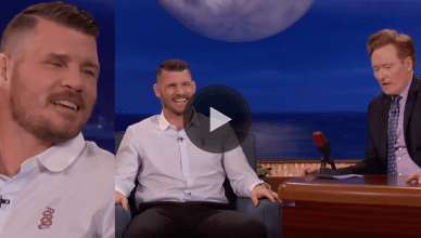 UFC middleweight champion Michael Bisping debuts his brand new set of teeth during his appearance on Conan O'brien.