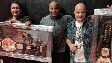UFC light heavyweight champion Daniel Cormier said thank you to his longtime AKA coaches Javier Mendez and Bob Cook by giving them his UFC belts.