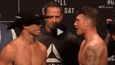 Donald Cerrone and fast rising UFC welterweight start Darren Till came face to face for their main event tomorrow at UFC Fight Night 118 from Poland.