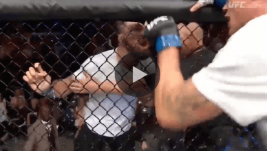 """UFC welterweight star """"Platinum"""" Mike Perry stormed the cage after Donald Cerrone was KO'd by Darren Till after Till called him out to fight him next."""