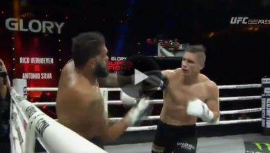 "Former UFC heavyweight star Antonio ""Bigfoot"" Silva gets TKO'd by Rico Verhoeven during the Glory Kickboxing main event in China."