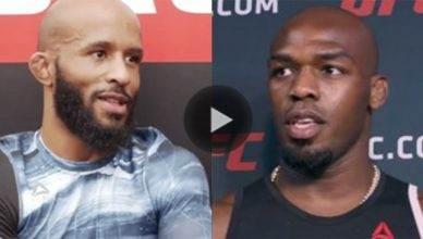 Current UFC flyweight champ Demetrious Johnson gives former light heavyweight champion Jon Jones his nod of respect.