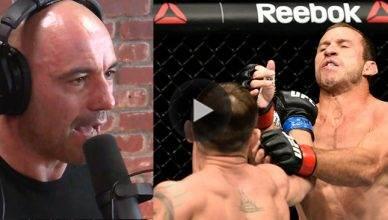 Look at Joe Rogan, Eddie Bravo and Brendan Schaub's live reaction to Donald Cerrone being brutally beat down at UFC Fight Night 118 in Poland.