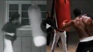 "Side-by-side on the heavy bag with martial arts legend Bruce Lee and one of boxing's most scary punchers, ""Iron"" Mike Tyson."