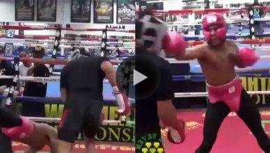 Top ranked UFC lightweight Kevin Lee sparring with boxing pound for pound king Floyd Mayweather Jr.