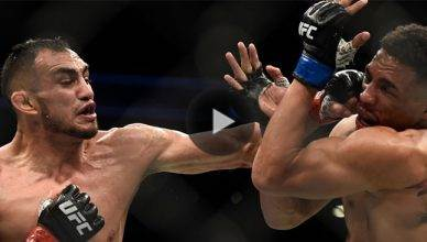 Watch Tony Ferguson keep the pressure on an exhausted Kevin Lee and finish him to become the new UFC interim lightweight champion at UFC 216.