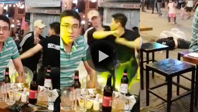 A patron got more than he bargained for when he argued with a security officer who was trained in Muay Thai knocked him out with a brutal elbow strike.