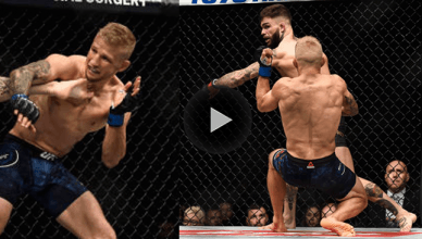 Watch T.J. Dillashaw get saved by the bell in round 1 after being nearly finished by Cody Garbrandt.