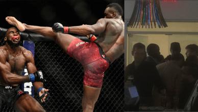 Ovince Saint Preux head kicks Corey Anderson at UFC 217.