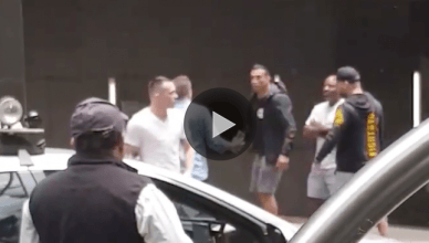 Colby Covington confronted by Fabricio Werdum.