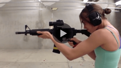 "UFC's ""Thug"" Rose Namajunas can handle some big firearms too."