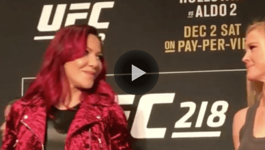 Cris Cyborg and Holly Holm staredown for UFC 219