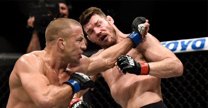 Georges St-Pierre and Michael Bisping at UFC 217.