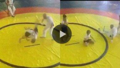 In one of the strangest finishes, a girl KO'd a referee using her opponents body while doing a Judo a throw.