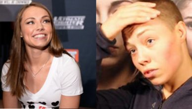 Rose Namajunas before and after her shaved head.