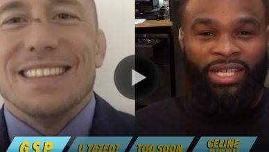 Georges St. Pierre and Tyron Woodley.