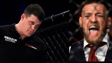 Referee Marc Goddard and Conor McGregor.