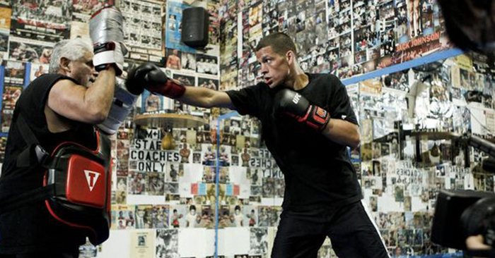 UFC star, Nate Diaz working with his boxing coach Richard Perez.