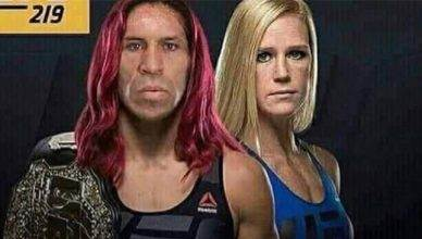 Cris Cyborg with a Wanderlei SIlva face, on the UFC 219 poster opposite Holly Holm.