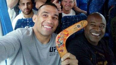Fabricio Werdum takes a group photo with the boomerang he assaulted Colby Covington with.