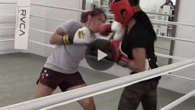 Cris Cyborg sparring against Mia St. John.