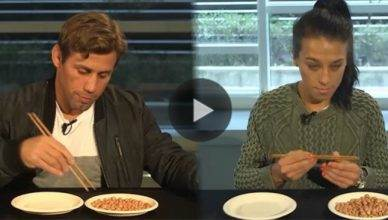 UFC Hall of Famer Urijah Faber and former UFC strawweight champion Joanna Jedrzejczyk doing the chopstick challenge.