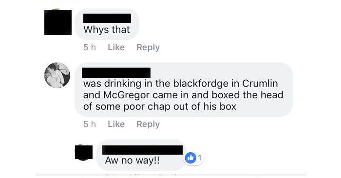 Conversation regarding Conor McGregor allegedly beating someone up badly.