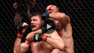Georges St. Pierre choking Michael Bisping unconscious at UFC 217.