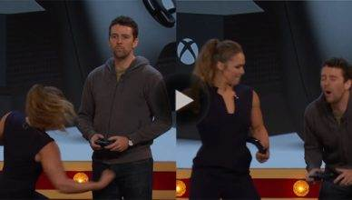 Watch this new video of former UFC bantamweight champion Ronda Rousey punching a grown man in the nuts for an Xbox.