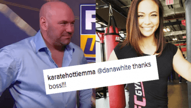 Dana White and Michelle Waterson.