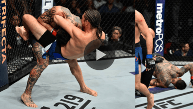 Brian Ortega choking out Cub Swanson at UFC Fight Night 123.
