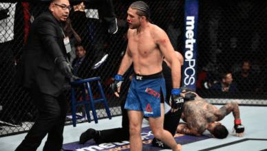 Brian Ortega chokes out Cub Swanson at UFC Fight Night 123.