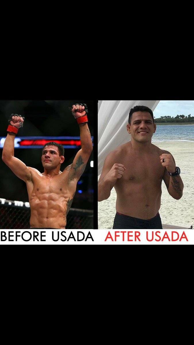 Former UFC lightweight champion Rafael dos Anjos before and after USADA drug testing.