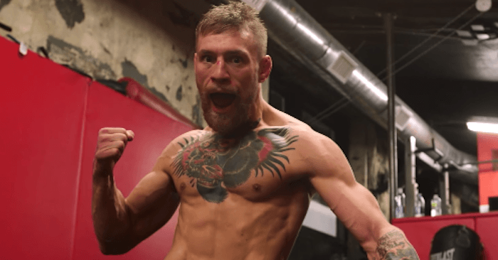 UFC champion Conor McGregor with his Bruce Lee pose