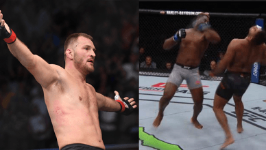 Stipe Miocic and Francis Ngannou knocking out Alistair Overeem.