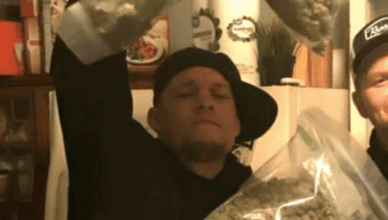 UFC star Nate Diaz showing off his massive stash of marijuana.