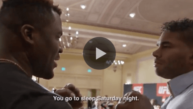 Francis Ngannou tells Alistair Overeem he will be asleep at UFC 218.
