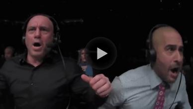 Joe Rogan reacting to Overeem being KO' by Ngannou at UFC 218.