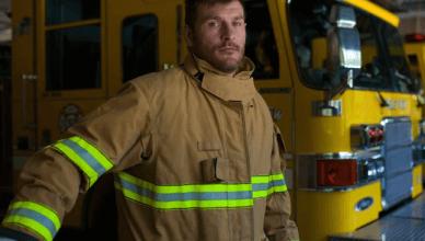UFC heavyweight champ Stipe Miocic working as a firefighter.